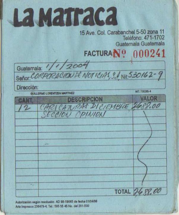 factura 1 LA MATRACA