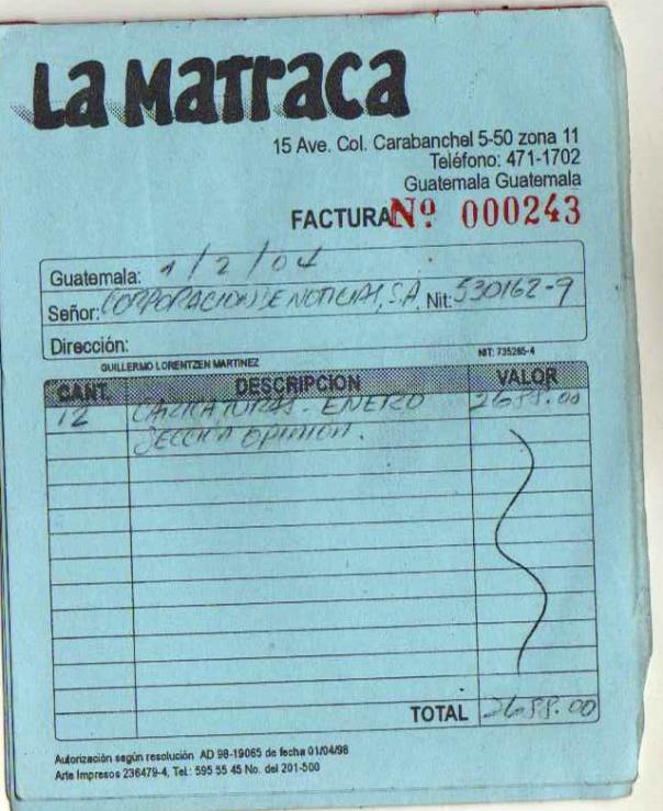 factura 2 LA MATRACA