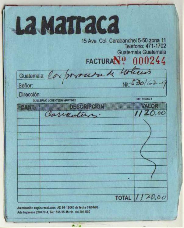 factura 3 LA MATRACA