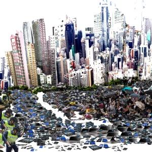 foto humor hong Kong baricades
